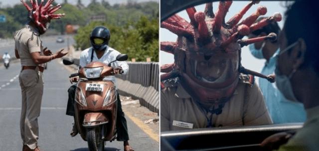 Cảnh sát Ấn Độ cùng bộ mũ bảo hiểm Covid-19 khiến nhiều trẻ em sợ hãi